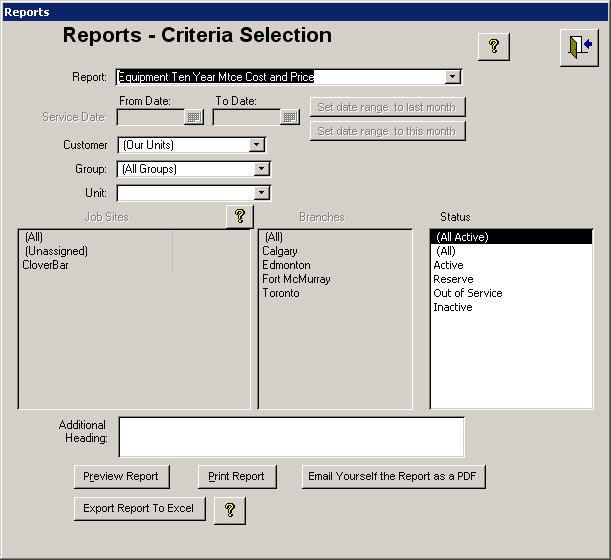 Report Critiera Selection